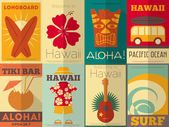 Retro Hawaii posters collection — Stok Vektör