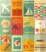 Flat Travel Posters Set — Stock Vector