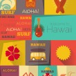 Retro Hawaii Labels collection — Stock Vector