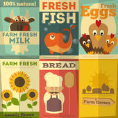 Set of Posters for Organic Farm Food — Stock Vector