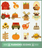 Farming Icons Set — Stock Vector