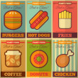 Retro fast food posters collection — Stock Vector