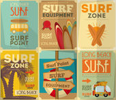 Surfing posters collection — Vettoriale Stock