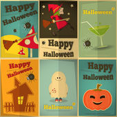 Fijar carteles de halloween — Vector de stock