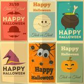 Fijar carteles de halloween — Vector de stock