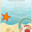 Vintage Travel Postcard - footprints in sand and beach items — Stock Vector #9278879