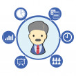 Businessman boss with office business symbol and icons - Stock Vector