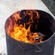 Burning of fake money and paper materials - Stock Photo