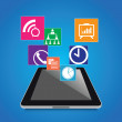 Modern tablet with business icons set — Stock Photo