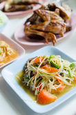 Thai papaya salad hot and spicy , Som Tam — Stock Photo