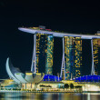 Foto de Stock  : SINGAPORE - June 6 : MarinBay Sands at night , World's most ex