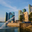 Stock Photo: SINGAPORE - June 6 : Merlion park at dawn with sunrise scene in