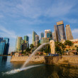 SINGAPORE - June 6 : Merlion park at dawn with sunrise scene in — Stock Photo