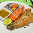 Set of Grilled Seafood with spicy sauce — Stock Photo