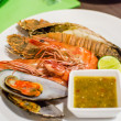 Set of Grilled Seafood with spicy sauce — Stock Photo #30309413