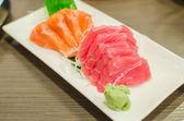 Sashimi set of fresh salmon and tuna raw fish — Stock Photo