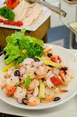 Prawn salad. Mixed healthy salad of shrimp — Stock Photo