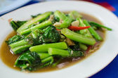 Fried kale and vegetables in oyster sauce — Stock Photo