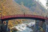Red sacred bridge in Nikko world heritage area — Stockfoto