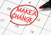 Make a change sign written with pen on calendar — Stock Photo