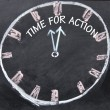 Stock Photo: Time for action clock sign