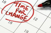 Time for change sign written with pen on calendar — Stock Photo