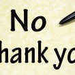 No thank you title written with  pen on paper — Foto Stock