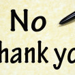 No thank you title written with pen on paper — 图库照片
