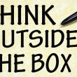 Think outside box title written with pen on paper — Stock Photo #23552737