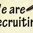 We are recruiting title written with pen on paper — 图库照片