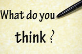 Co sądzisz tytuł napisany piórem na papierze — Zdjęcie stockowe