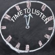 Time to listen clock sign  — Foto Stock