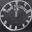 Time to listen clock sign — Stock Photo