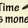 Time is money title written with pen on paper — Stock Photo
