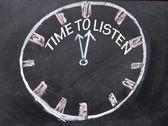 Clock işareti dinlemek için zaman — Stok fotoğraf