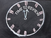 Time to review clock sign — Stock Photo