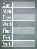 Woche-Tabelle — Stockfoto