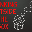 Think outside the box sign — Stock Photo