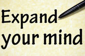 Expand your mind title written with pen on paper — Stock Photo