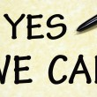 Yes we can title written with pen on paper — Foto de Stock