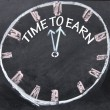 Time to earn clock — 图库照片