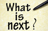 What is next ? title written with pen on paper — Stock Photo