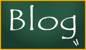 Blog title write on blackboard — Stock Photo
