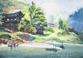 China rural landscape watercolor painting — Stock Photo