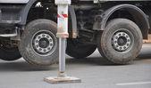 Pump truck outrigger — Stock Photo