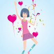Beautiful woman jumping on valentine — Stock Vector #12482035