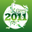 Happy new year 2011 go green — Stock Vector