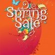 Spring sale promo campaign poster - Stock Vector