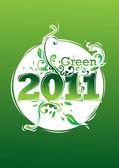 Happy new year 2011 go green — Stock Vector