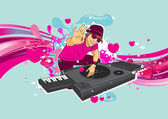 DJ performance on valentine party — Stock Vector